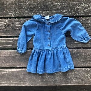 Vintage Osh Kosh Jean Denim Dress Long Sleeve